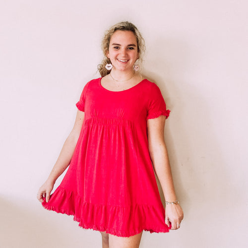 Round Neck Dress with Ruffle Trim-Jester Red