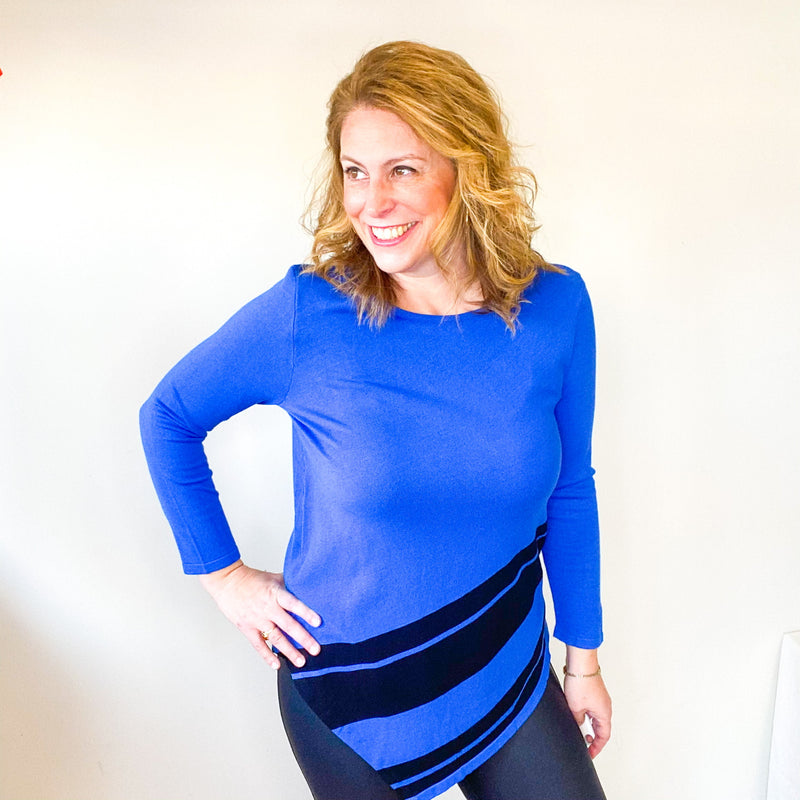 Electric Blue Slant Hem Sweater