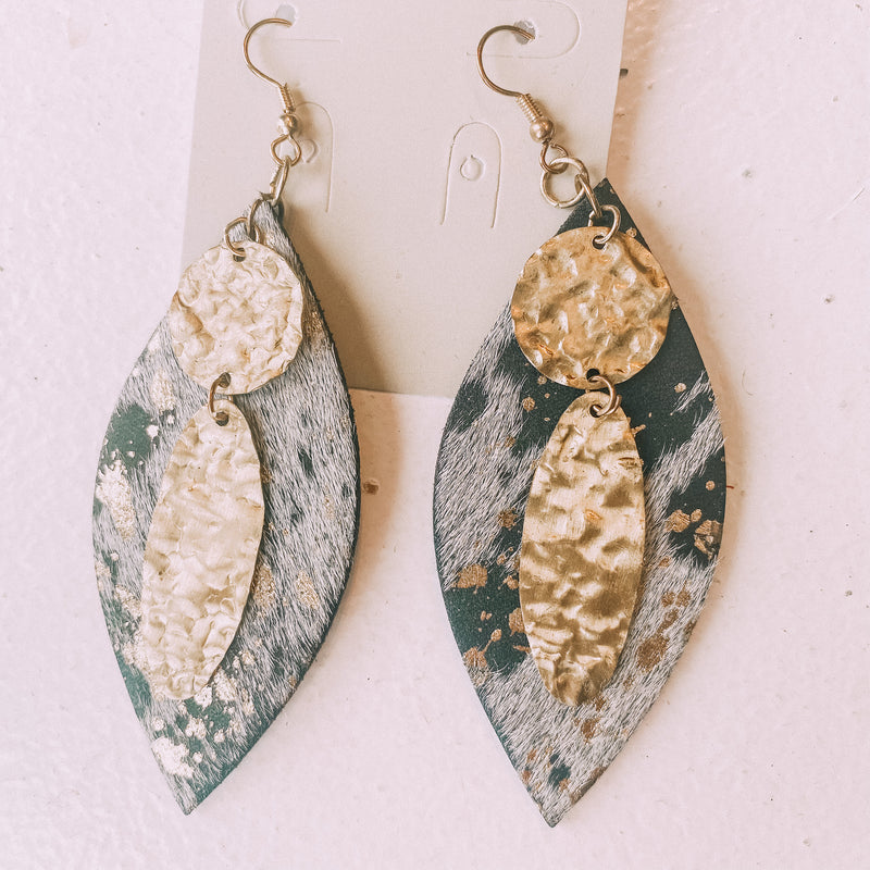 Leather/Brass Earrings