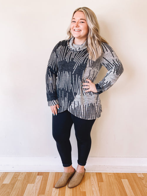 Grey/Black Tulip Hem Top