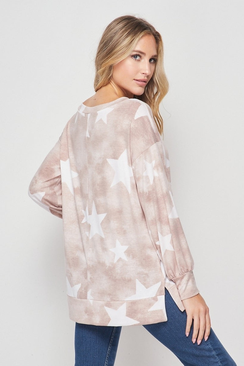 Mocha Star French Terry Top