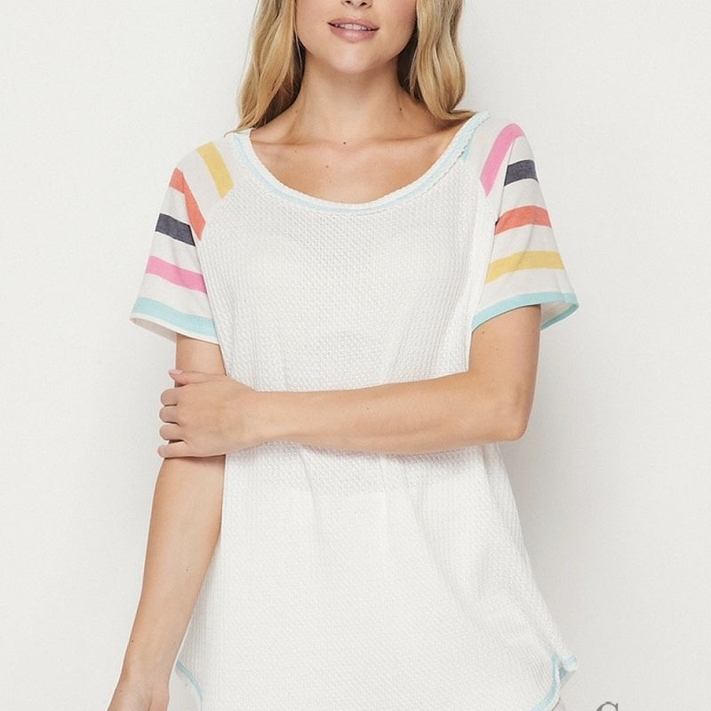 White Tee with Stripe Sleeve