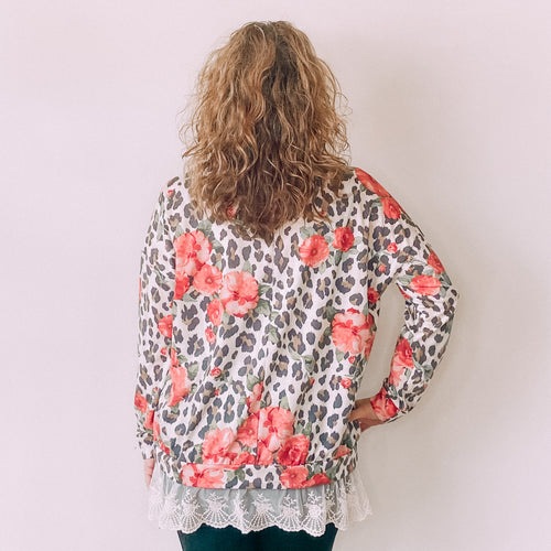 Taupe/Olive Floral Leopard Lace Top
