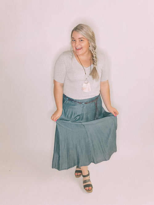 Multiples Denim Maxi Skirt-Dark Indigo