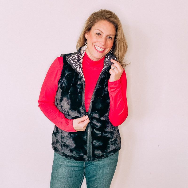 Reversible Quilted Faux Fur Vest