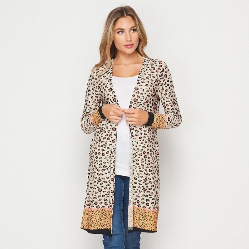 Tan/Mustard Long Animal Print Cardigan