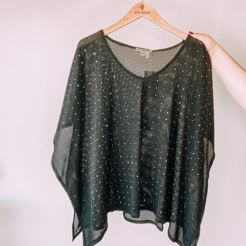 Studded Open Knit Top