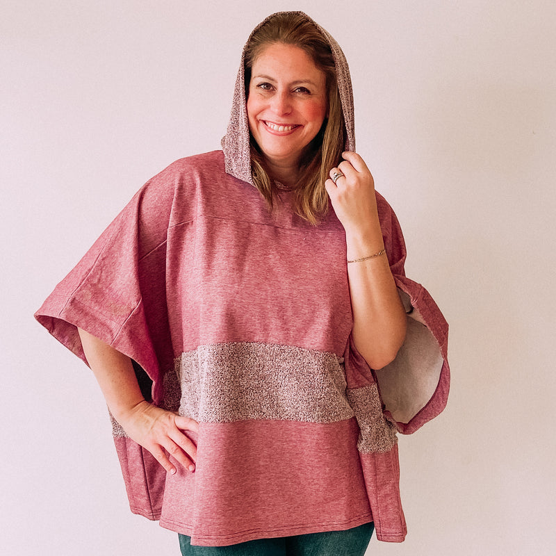 Stripe Up The Band Hooded Poncho-Burgundy