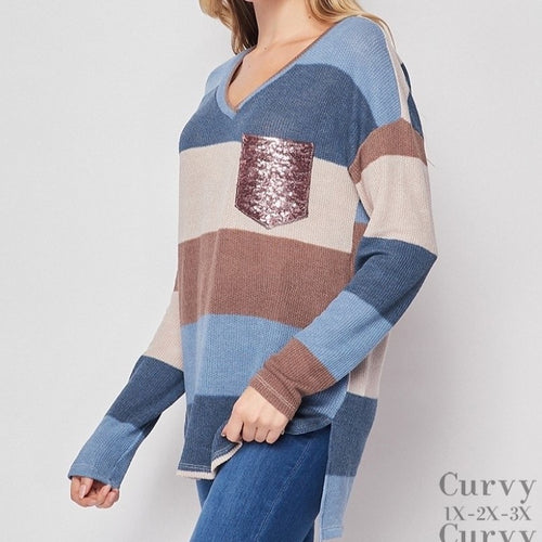 Denim/Taupe Stripe Sweater