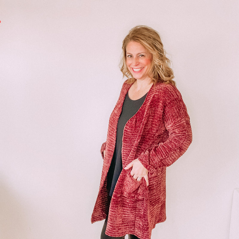 Ribbed Knitted Chenille Open Cardigan-Brick
