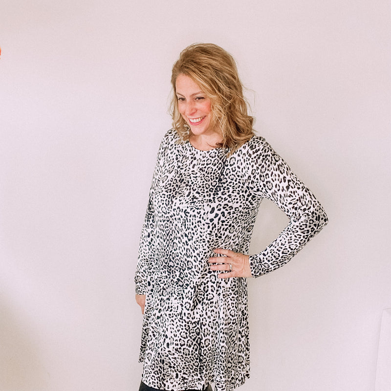Grey Cheetah Print Long Sleeve T-Shirt Dress