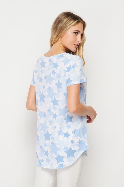 Denim Stars V Neck Tee
