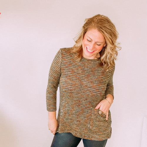 Green Multi Tweed One Pocket Sweater