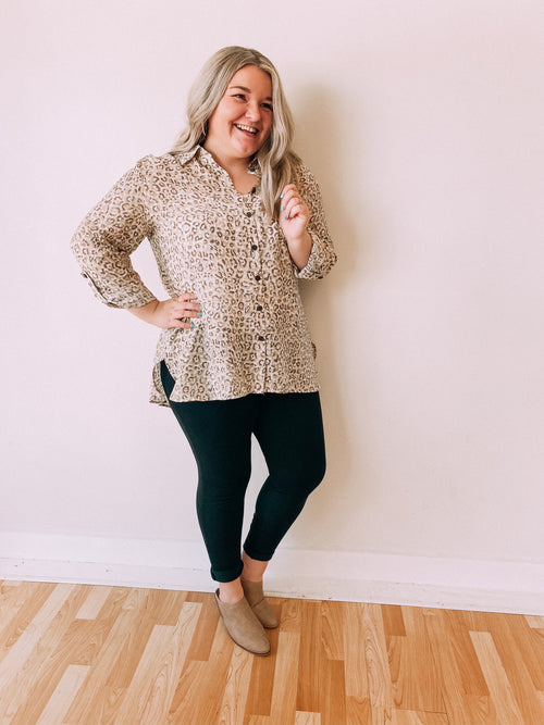Neutral Leopard Button Tunic-Skin Multi