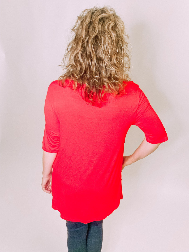 Elbow Sleeve Side Button Tunic- Red