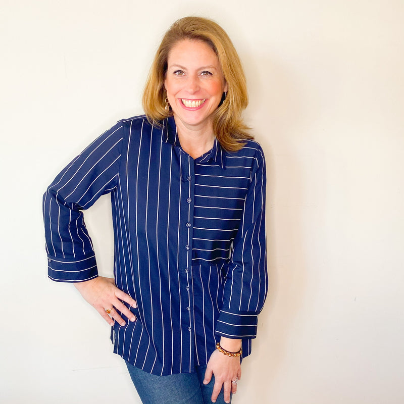 Navy/White Stripe Button Tunic Blouse