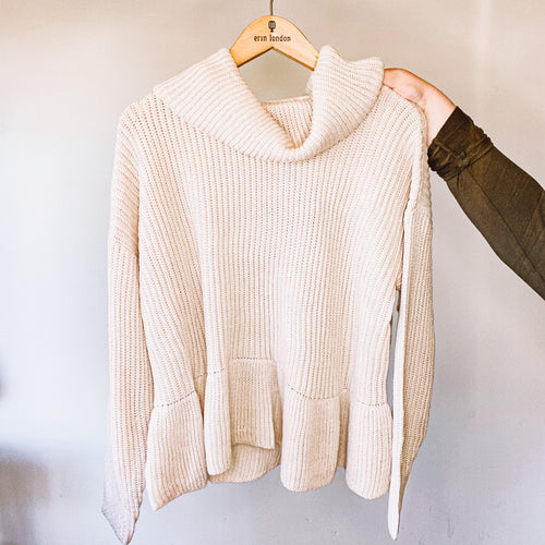 Rib Textured Pullover Turtleneck Sweater