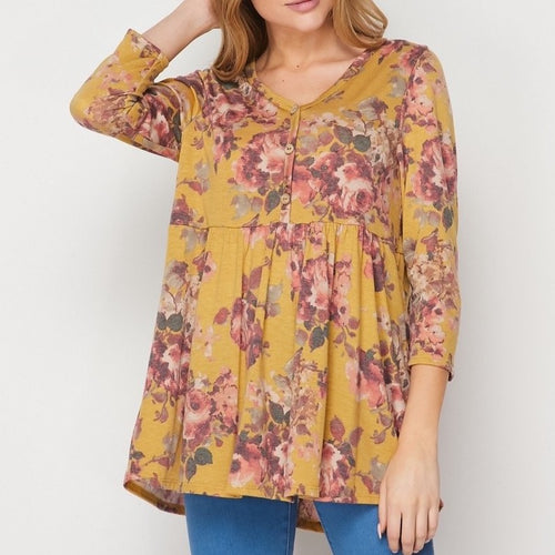 Mustard/Olive Babydoll Top