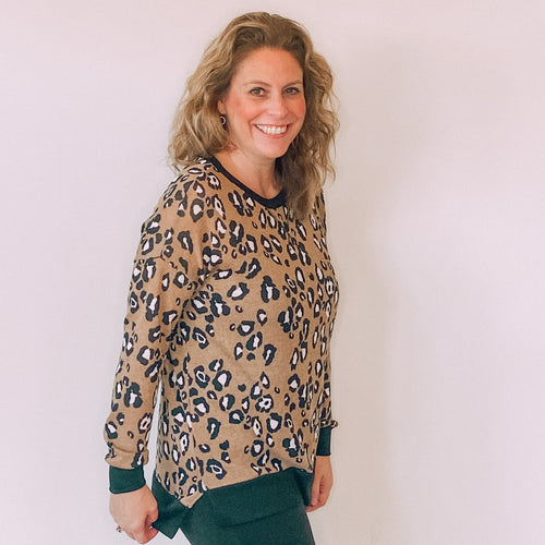 Leopard Sweater-Camel/Black
