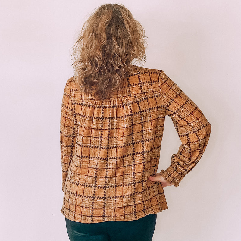 Elastic Mock Neck Plaid Top