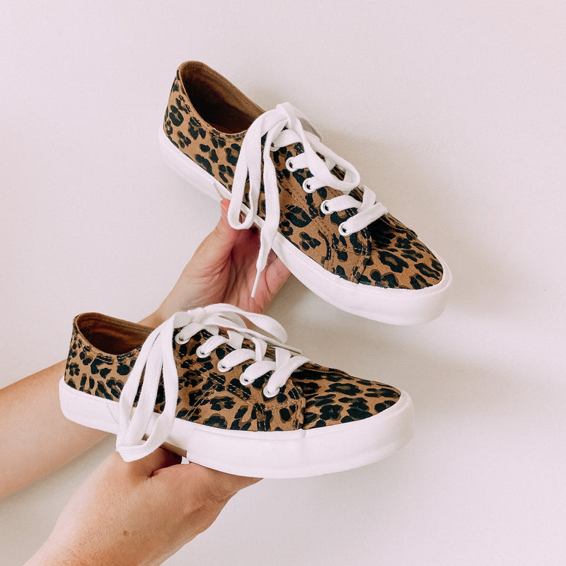 Leopard Lace Up Sneakers