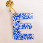 Initial Keychains-Blue and White