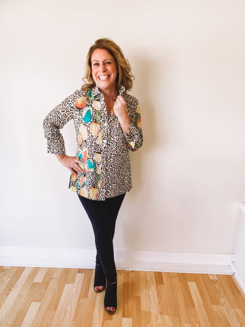 Floral-Leopard Button Down Tunic