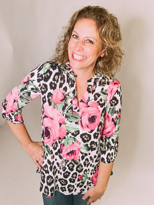 Gabby Tunic-Pink Floral/Black Leopard