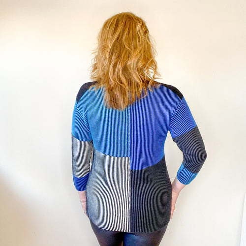 Blue/Multi Drop Shoulder Boat Neck Sweater