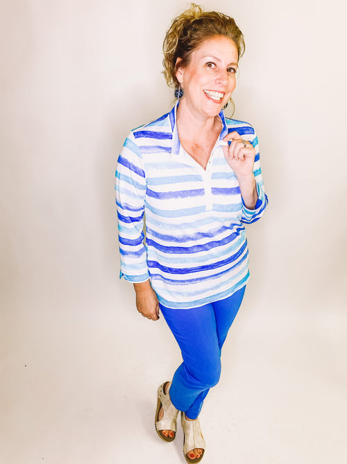 Blue Striped Cuffed Sleeve Top