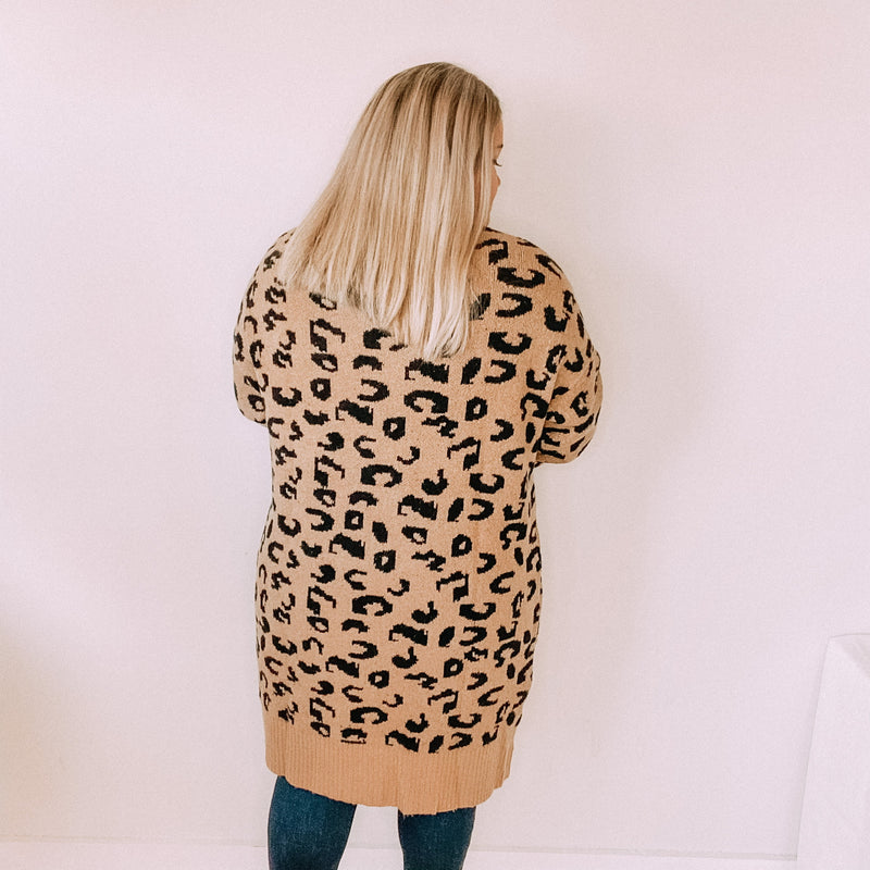 Animal Print Long Jacquard Cardigan