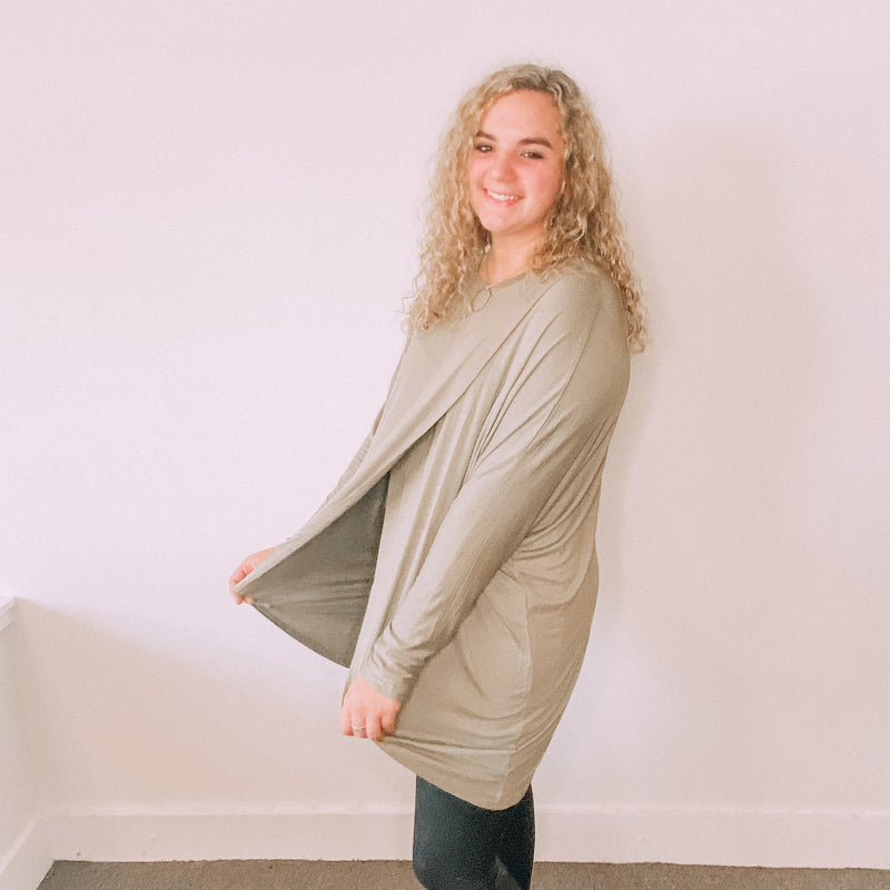 Layered Dolman Sleeve Hi-Lo Tunic