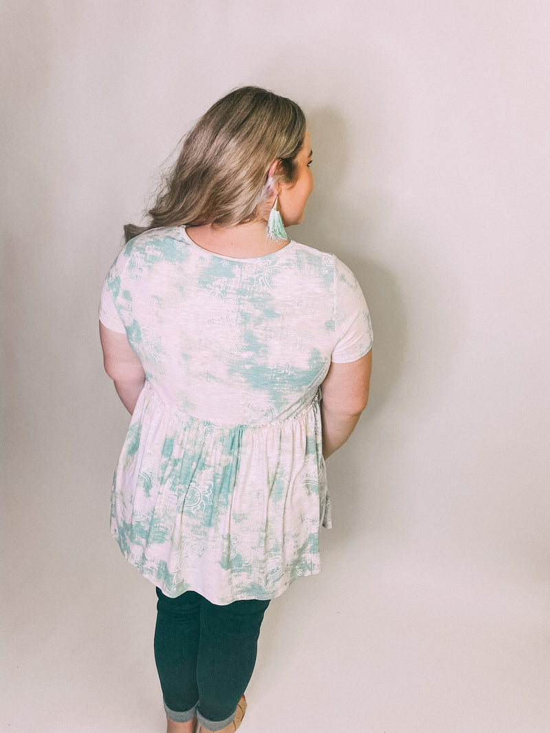 Sage & Blush Baby Doll Top