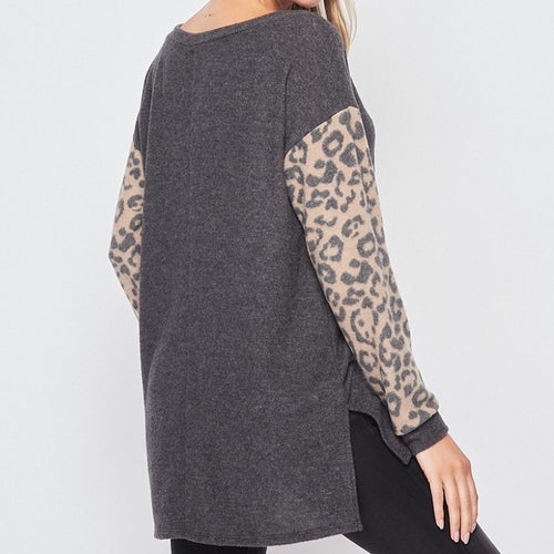 Grey Tunic with Leopard Sleeves