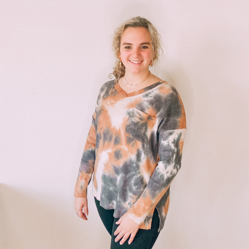 Charcoal/Rust Tie Dye Top