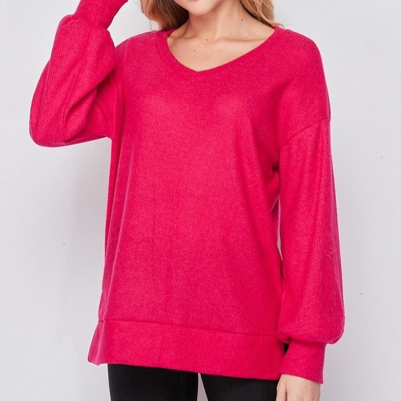 V-Neck Band Sweatshirt
