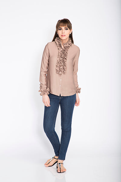 Seden Satin Frilled Shirt