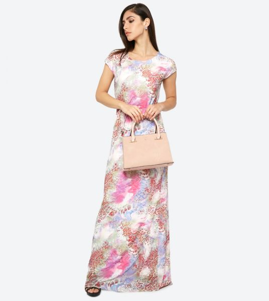 Seden Printed Short Sleeve Lace Detail Maxi Dress