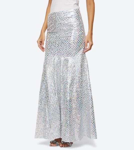 Seden Shiny Fitted Maxi Skirt