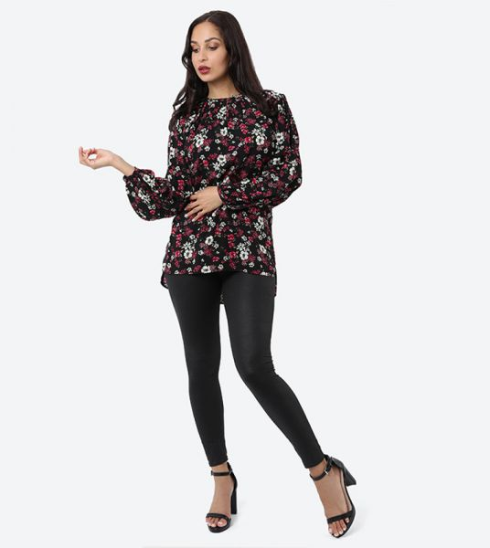 Seden Floral Print Cotton Blouse