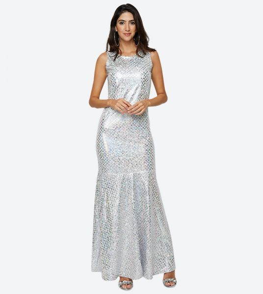 Seden Shiny Fitted Maxi Dress