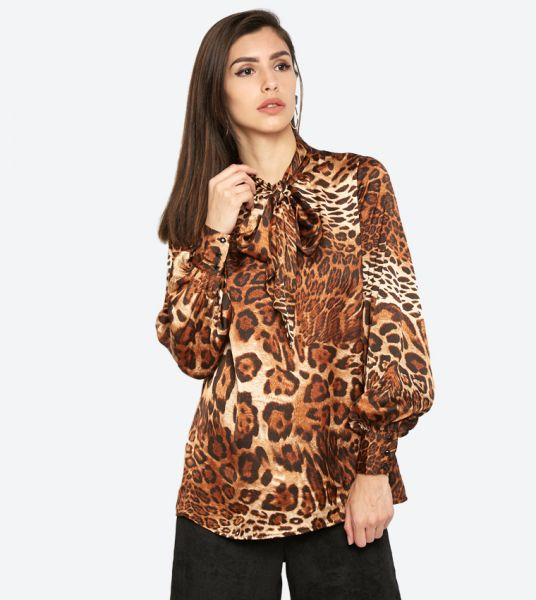 Seden Leopard Printed Long Sleeves Blouse