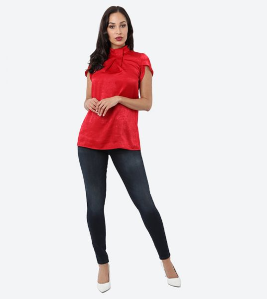 Seden Plain Chinese Neck Satin Top