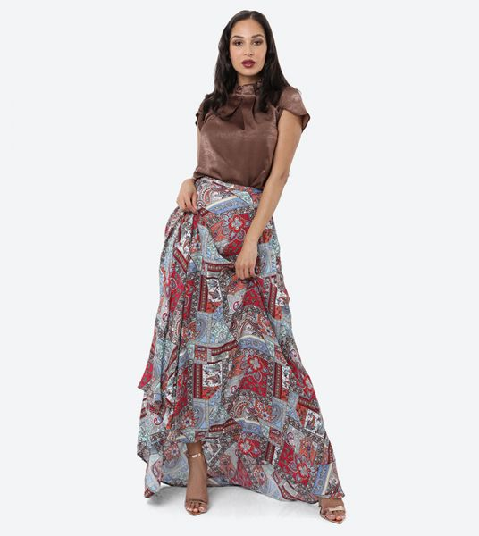 Seden Cotton Printed Bias Skirt