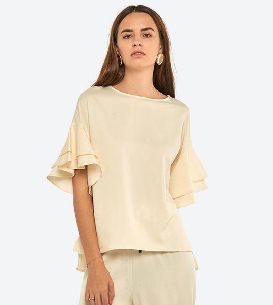 Seden Plain Tencel Frilled Sleeves Top