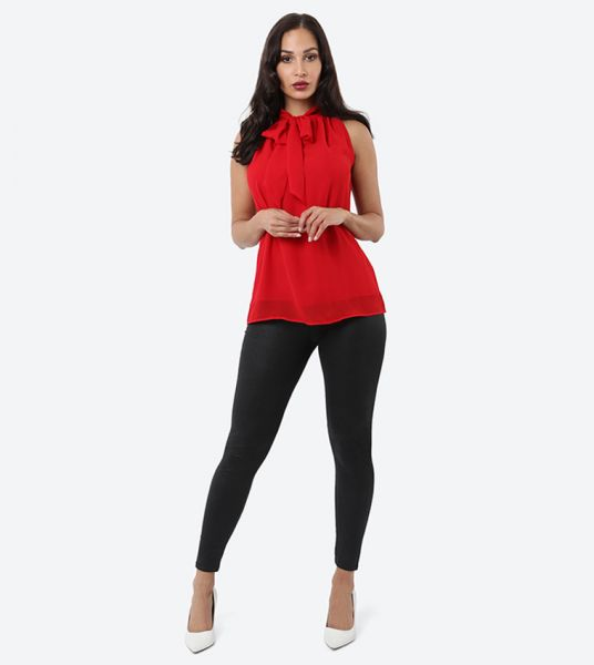 Seden Plain Chiffon Tie Neck Top