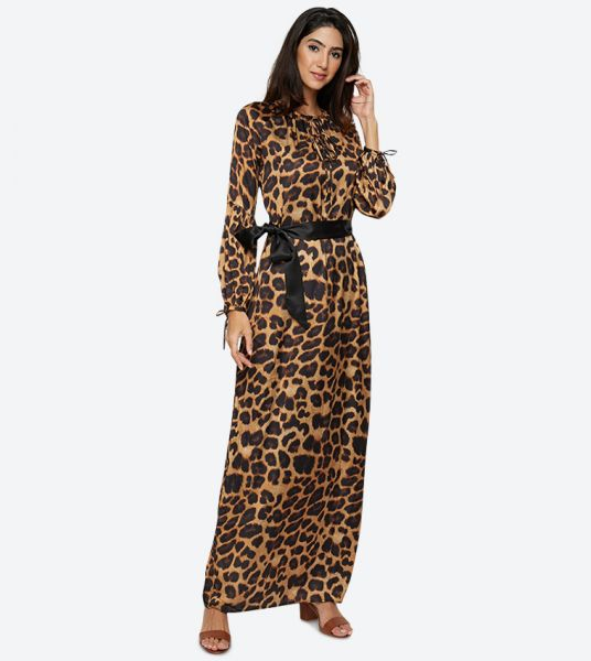 Seden Tiger Print Detail Maxi Dress