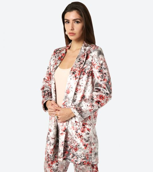 Floral Print Velvet Collared Over Coat