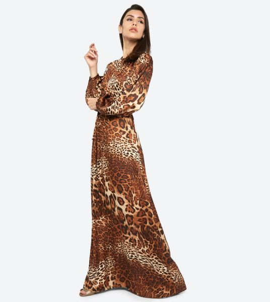 Seden Long Sleeve Tiger Printed Maxi Dress