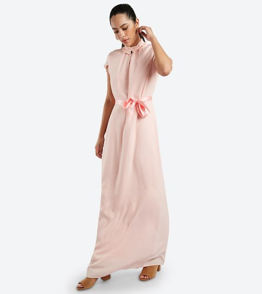 Seden Ruffle Neckline Short Sleeve Maxi Dress
